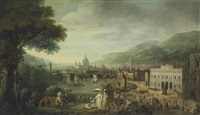 a capriccio of london as a seaport, with the bank of england, monument, westminster abbey, and saint paul's cathedral by robert griffier