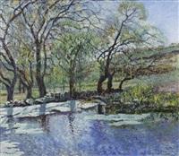 paisaje otoñal con estanque by luis i. aquino