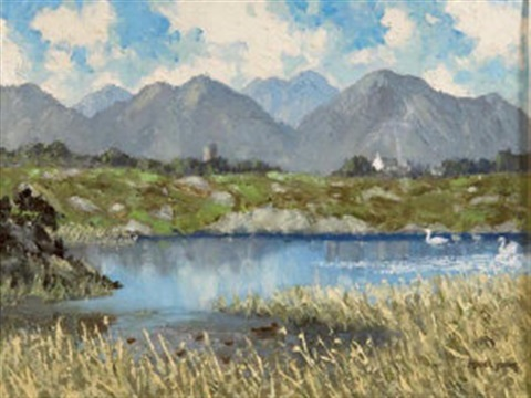 the lake cregduff roundstone co galway by mabel young