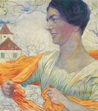 bildnis einer frau mit orangem tuch in einer frühlingslandschaft by leopold blauensteiner
