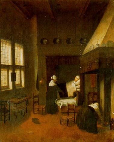 a bedroom with a woman in bed her child in a cot and nurses by jacobus vrel