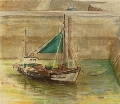 boats in the harbour honfleur by barbara warren