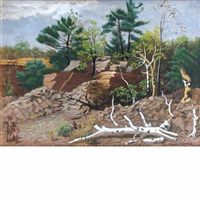 rocky landscape with fallen trees by lucile blanch