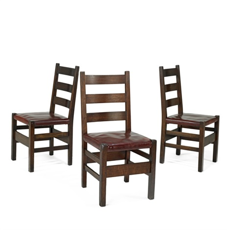 three ladder back dining chairs by gustav stickley