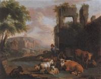 hirte mit kühen, ziegen und schafen vor antiken ruinen by johann heinrich keller