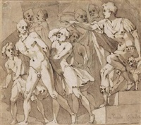 un général romain renvoyant un captif nu by andrea boscoli