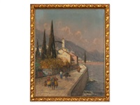 italian harbour by georg fischhof