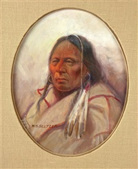 native man with feathers portrait by steve seltzer