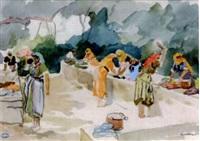 femmes orientales au lavoir by pierre lissac