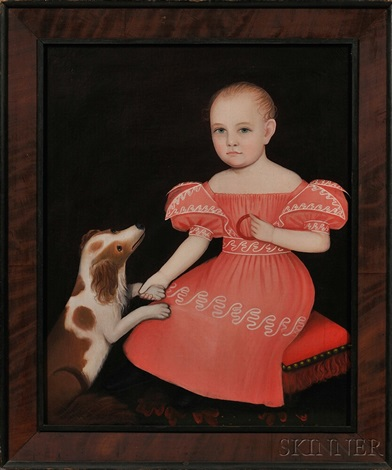 portrait of a child in a pink dress seated on a red cushion with a spaniel by ammi phillips