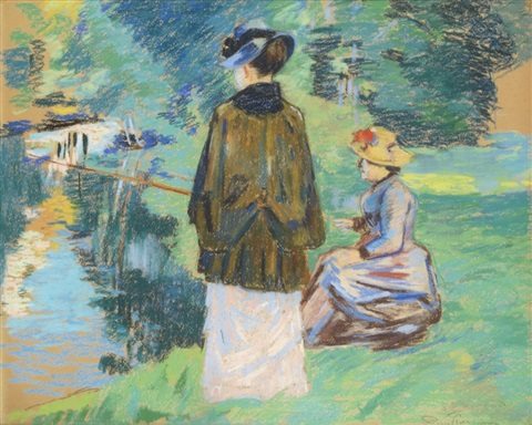 madame guillaumin péchant avec sa fille madeleine by armand guillaumin