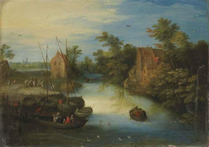 villageois chargeant leurs barques au bord dun ruisseau by jan brueghel the younger