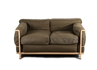 zweiersofa lc 2 by le corbusier, charlotte perriand and pierre jeanneret
