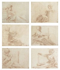 prophets and sibyls (studies; 6 works) by michelangelo anselmi