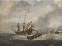 dutch shipping in rough seas by hendrick van anthonissen