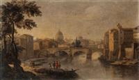 vue du tibre vers saint pierre de rome by giacomo van (monsù studio) lint