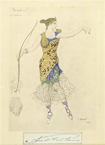 costume design for le pas de diane by leon bakst