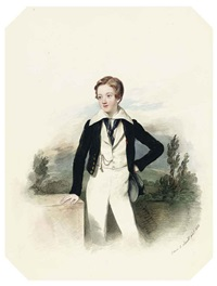 portrait of john deacon standing, in the uniform of a midshipman by edwin dalton smith