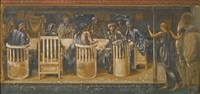 the knights of the round table summoned to the quest by a strange damsel (the summons) by edward burne-jones
