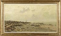 bateau échoué sur la plage by franz courtens