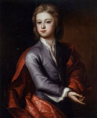 portrait of a boy in a lilac coat and red cloak by charles d' agar