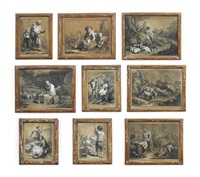 a collection of twenty-seven rustic and pastoral scenes depicting figures and animals by francesco londonio