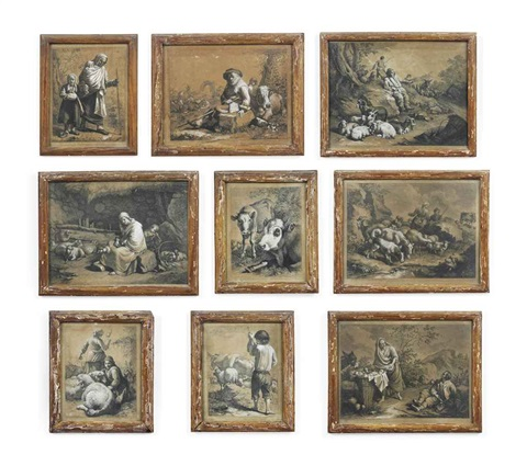 a collection of twenty seven rustic and pastoral scenes depicting figures and animals by francesco londonio