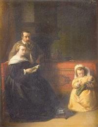 petite fille jouant avec sa poupée devant ses parents by h. vaasburg