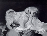 puppy playing with silk hankie by elizabeth kendall