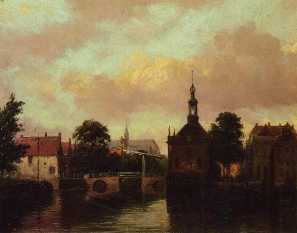 stad aan een rivier by jacob willem gruyter