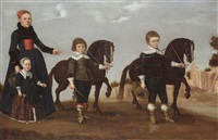 a lady with her daughter and two sons with tethered miniature horses, a view to roman ruins beyond by gerard van donck