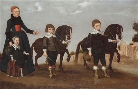 a lady with her daughter and two sons with tethered miniature horses a view to roman ruins beyond by gerard van donck