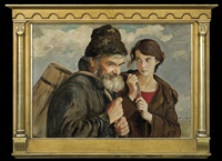 on the road. old man and a girl by vlastimil hofmann