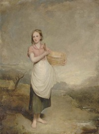 a milkmaid in a landscape by thomas duncan