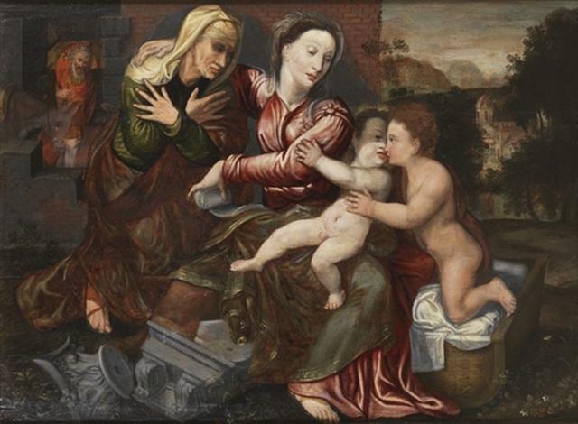 la sainte famille avec sainte anne et saint jean baptiste by jan matsys massys