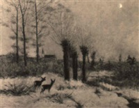 rotwild im winter by louis (jakob ludwig w.) boller