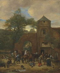 travellers halting outside an inn by jan steen