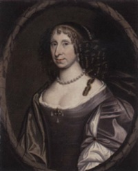 portrait of dame helen skene, daughter of sir james skene and wife of sir charles eskine of alva, in a purple dress by david scougall