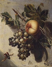 still life with grapes and a peach by willem grasdorp