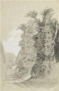 payasage de normandie, arbres et chaumières by eugène boudin