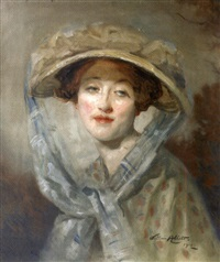l'élégante au chapeau et au ruban bleu by william ablett