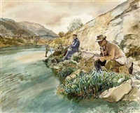 anglers on the banks of the river severn with iron bridge beyond by h. andrew freeth