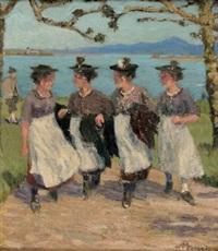 vier trachtenfrauen am chiemsee by karl august arnold