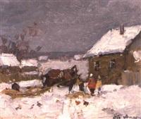 la promenade en traineau l'hiver by eugene markov