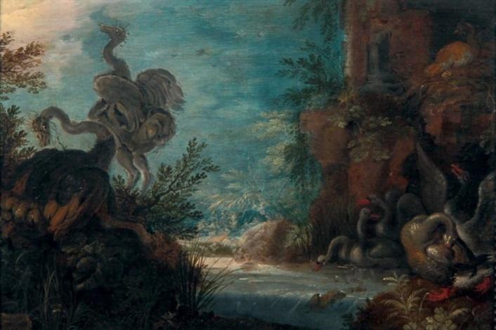 autruches cygnes et canards près dune rivière dit aussi les oiseaux de paradis by roelandt savery