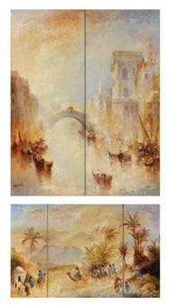 le désert des hommes bleus (+ les gondoles du rialto (triptych); 2 works) by leopold m. baijot