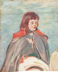 chłopiec z kapeluszem w dłoniach by vlastimil hofmann