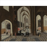 interior of a gothic cathedral with figures and dogs by peeter neeffs the elder