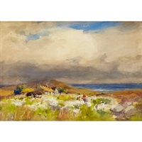 coastal scene with wild flowers by william st. thomas smith