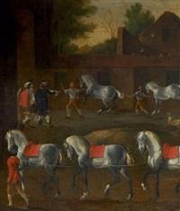 scène de dressage et vente de chevaux by johann philipp lemke